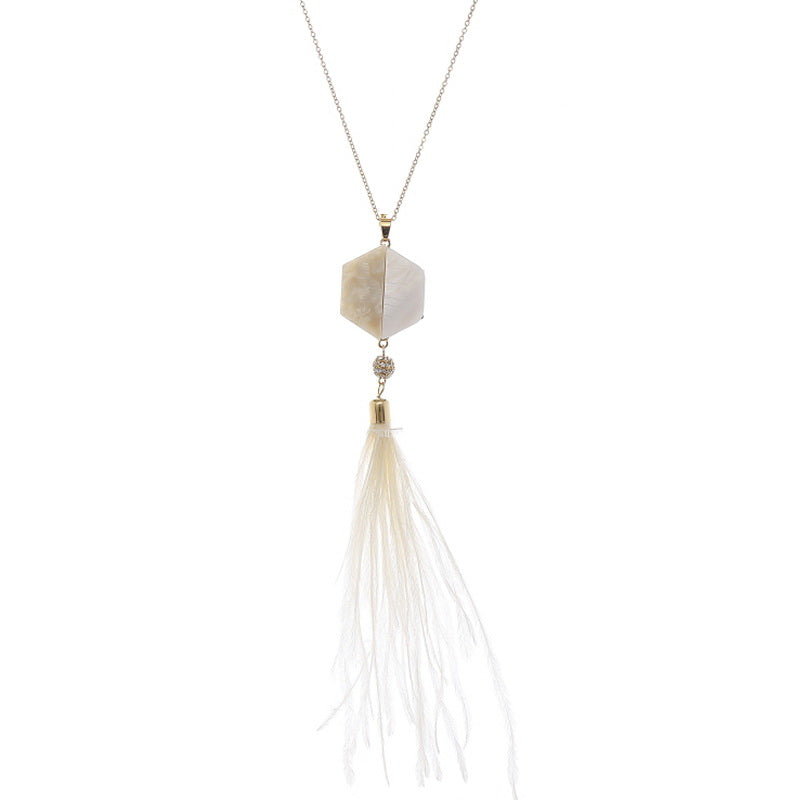 Mother Of Pearl Feather Fringe Long Necklace
