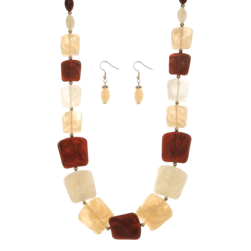 Lightweight Marble Tile Bead Long Necklace