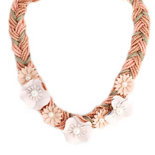 Flower Seed Bead Braided Short Necklace