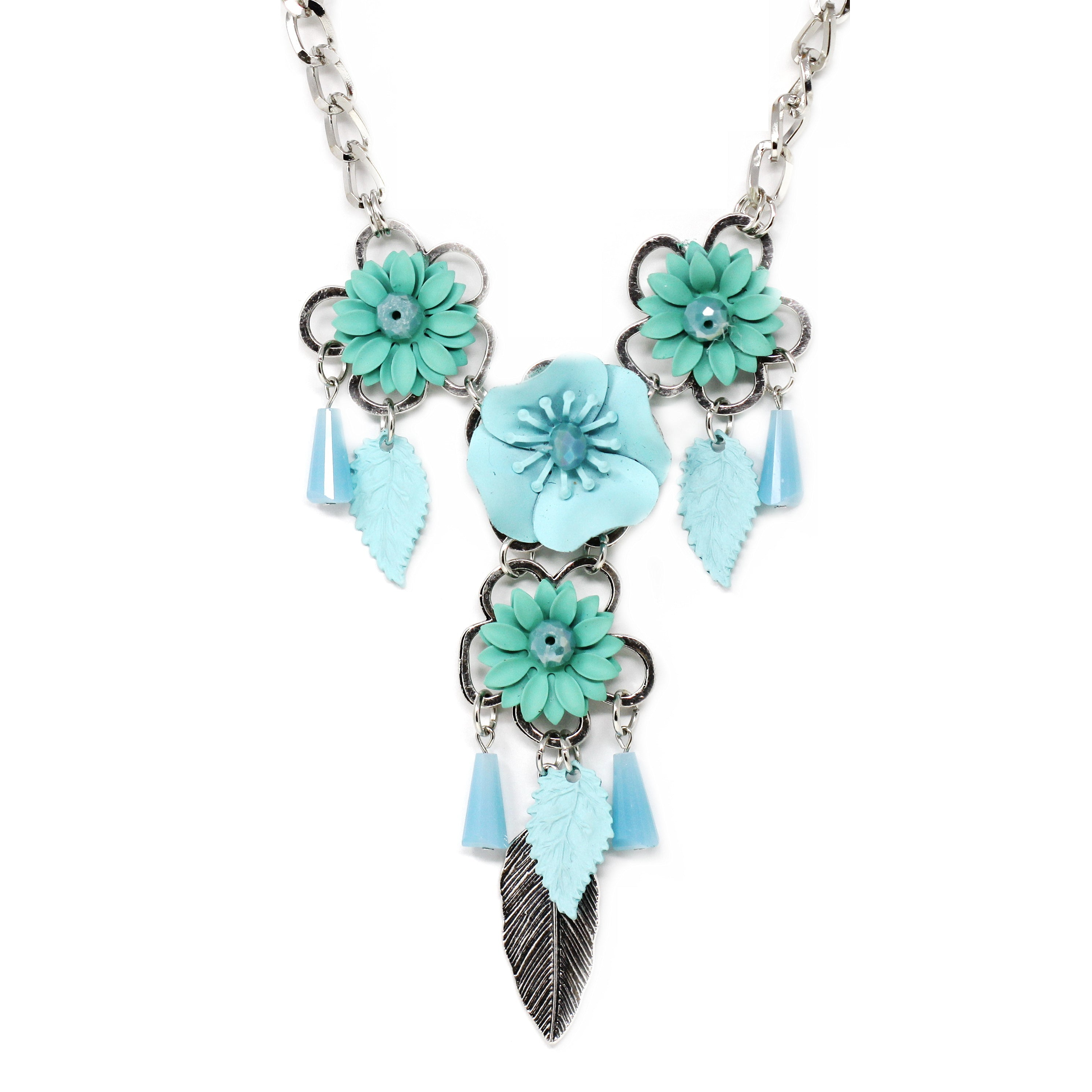 3D Flower Metal Leaf Short Necklace