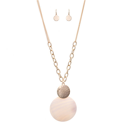 Mother Of Pearl Disc Pendant Long Necklace