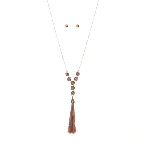 Nature Inspired Druzy Y Shape Thread Tassel Long Necklace