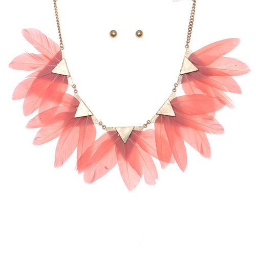 Feather Fan Short Collar Necklace