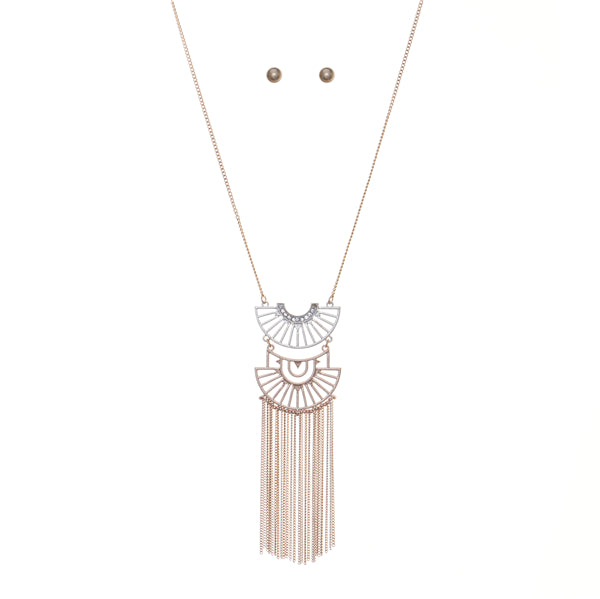 Bohemian Geometric Pendant Metal Fringe Lone Necklace