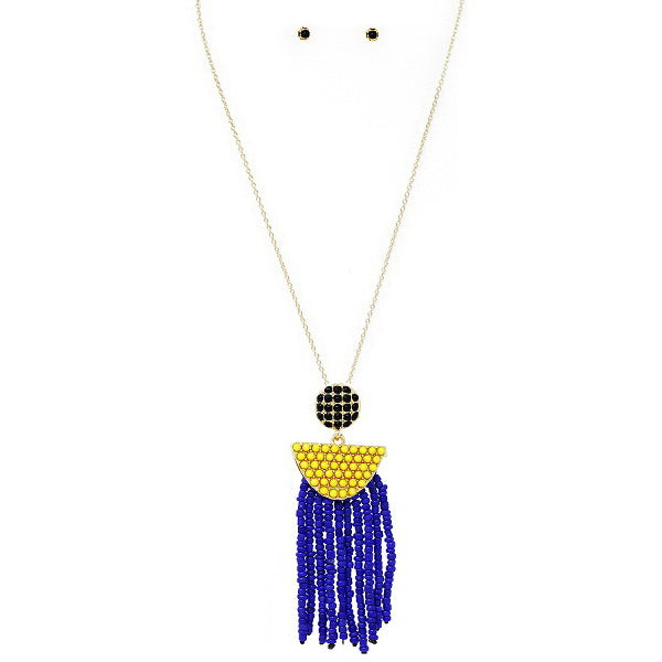Seed Beaded Fringe Pendant Long Necklace