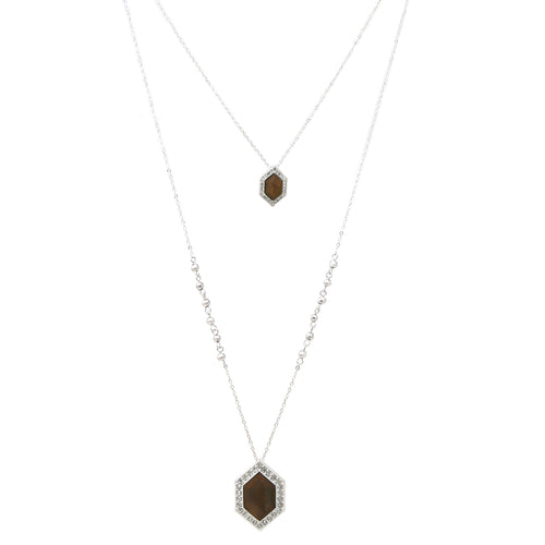 Double Layered Rhinestone Paved Wood Hexagon Pendant Long Necklace