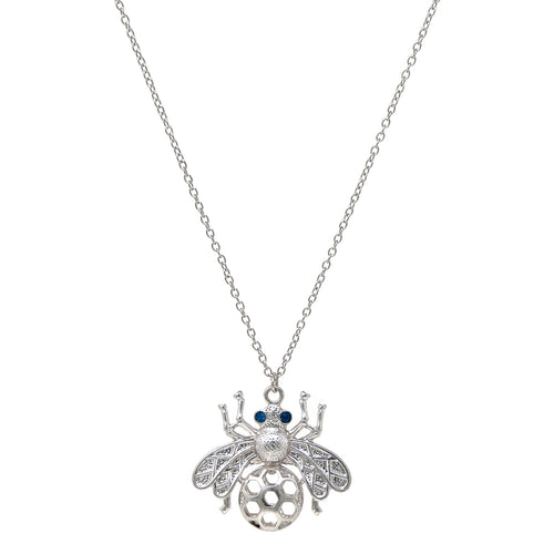 Rhinestone Pave Metal Bee Pendant Long Necklace