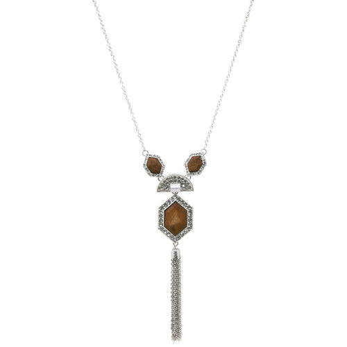 Multi Rhinestone Paved Wood Hexagon with Tassel Pedant Long Necklace