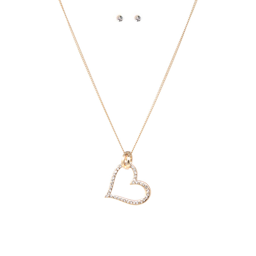 Pave Glass Stone Heart Pendant Short Necklace