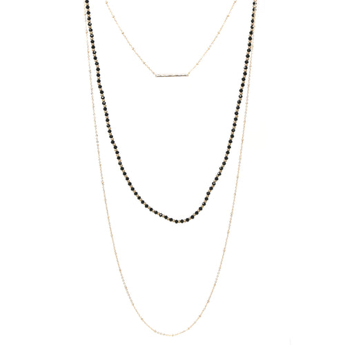Bar Pendant Glass Beaded Chain Triple Layered Necklace