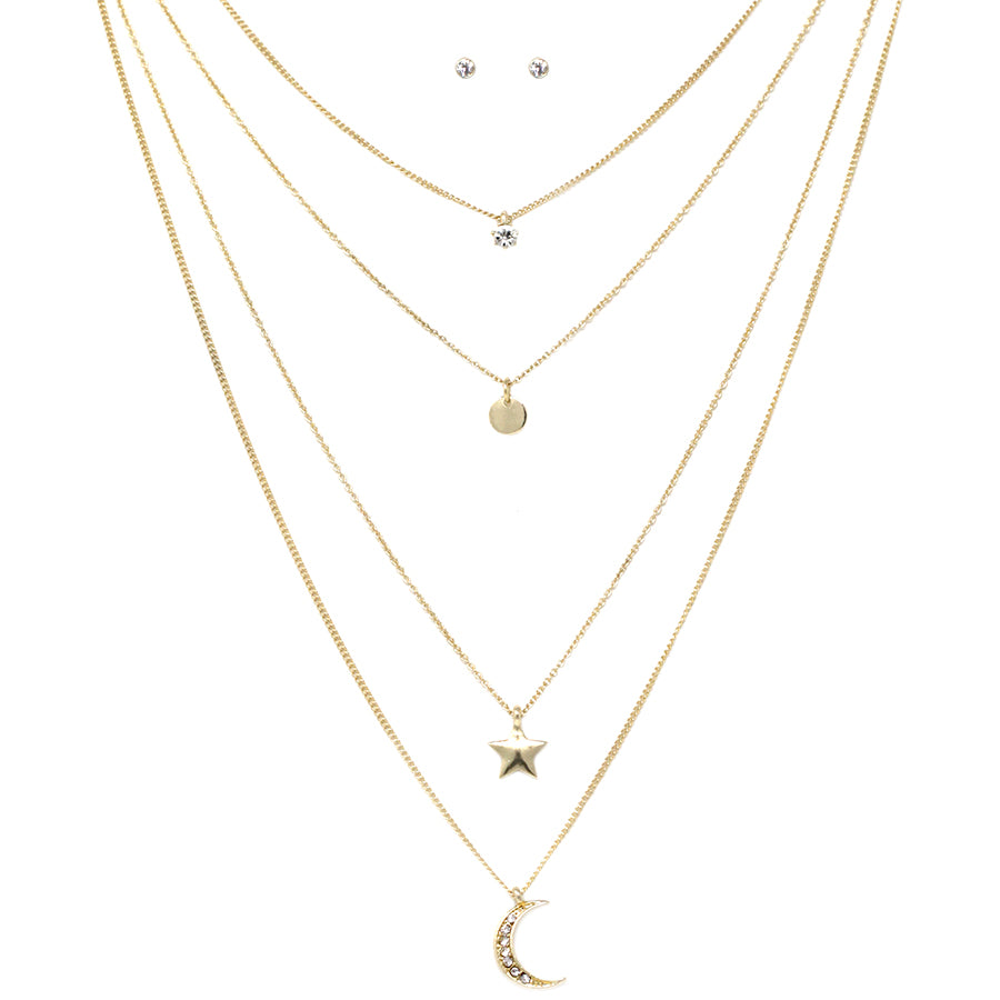 Moon And Star Layered Delicate Chain Necklace