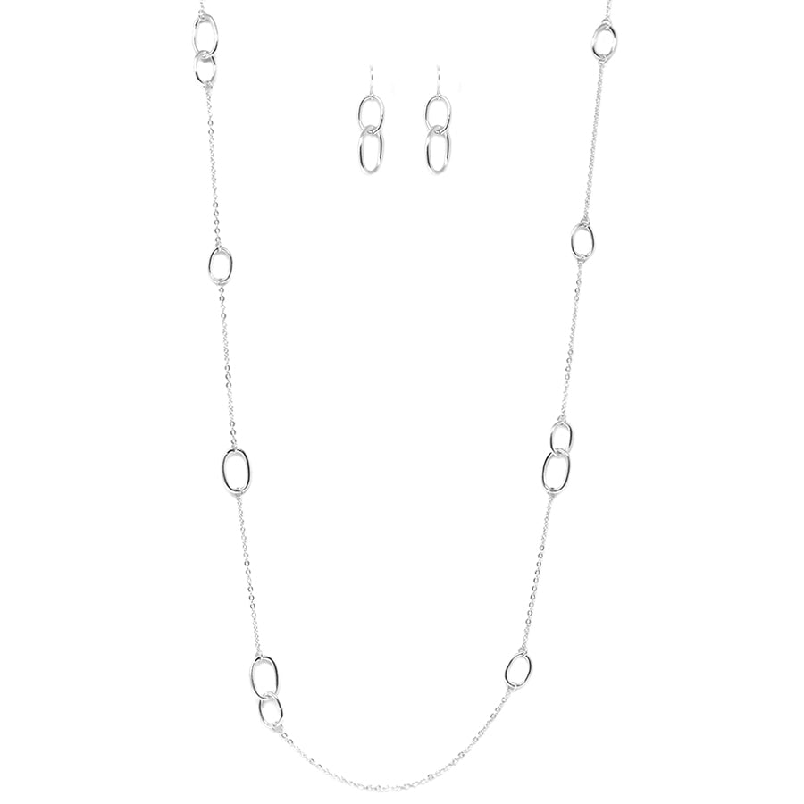 Delicate Spaced Oval Link Long Necklace