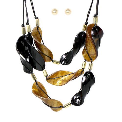 Marble Texture Acetate Leaf Triple Layered Necklace