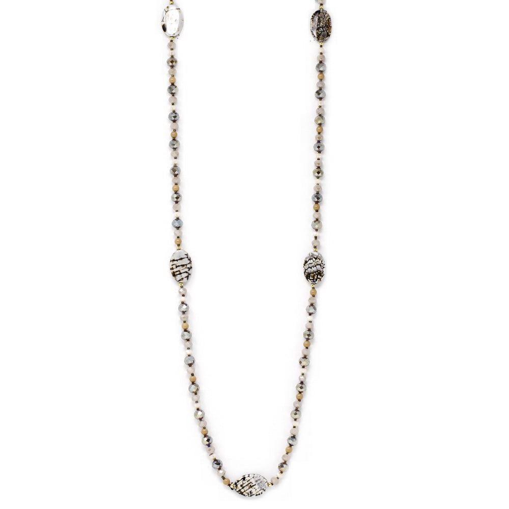 Spaced Natural Stone Glass Beaded Long Necklace