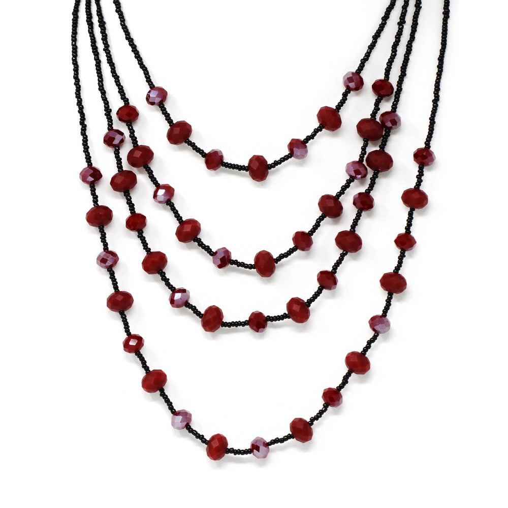 Glass And Seed Bead Multi Strand Short Neckalce