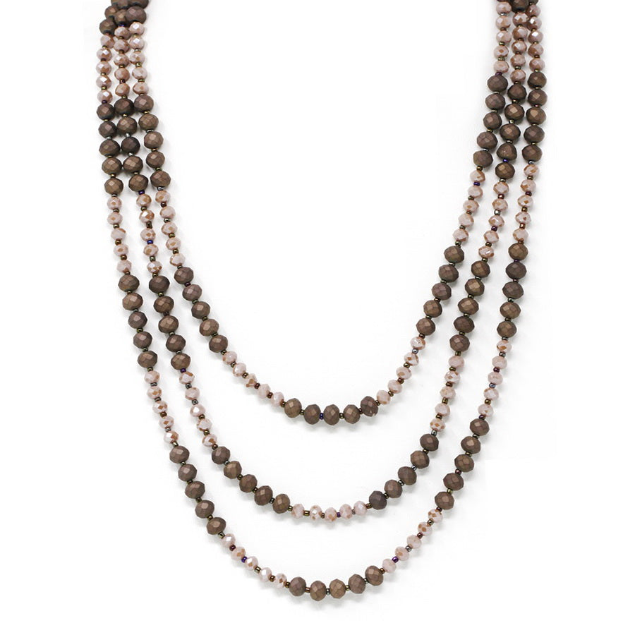 Triple Strand Beaded Short Layered Necklace