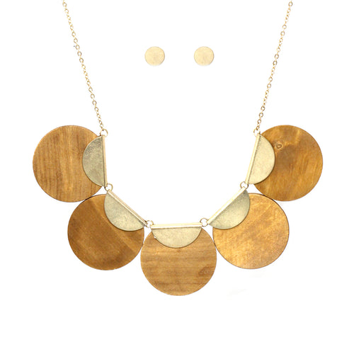 Metal With Wood Disc Short Necklace