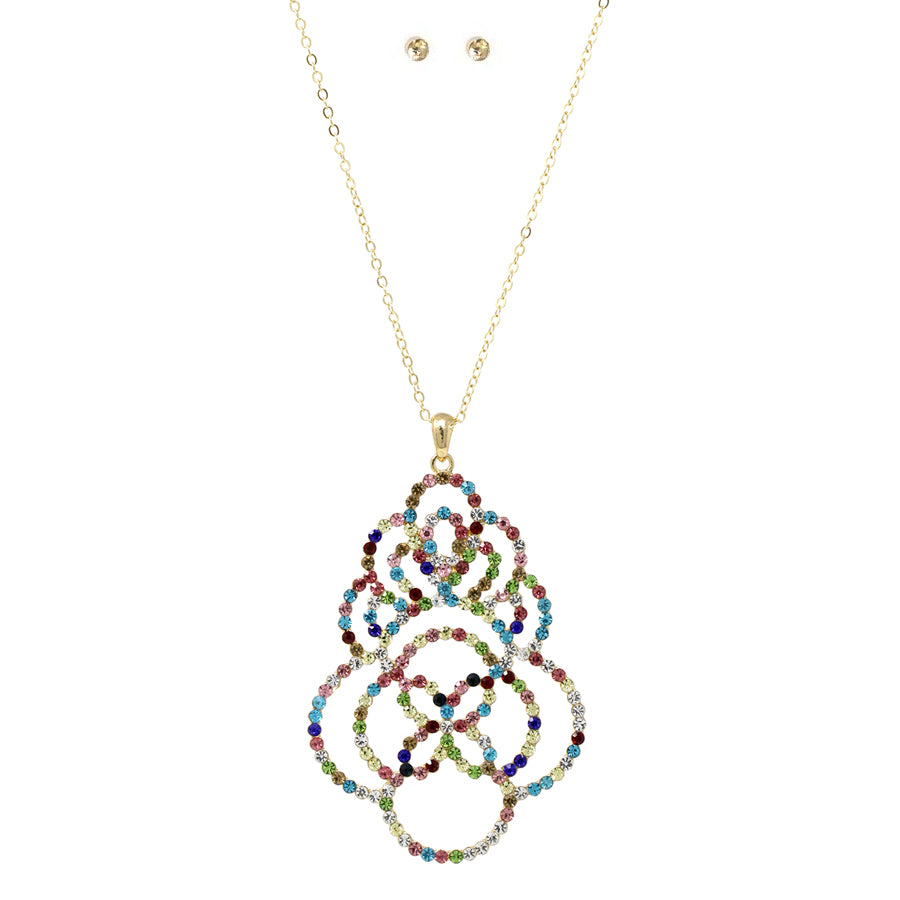 Pave Glass Stone Lace Pendant Long Necklace