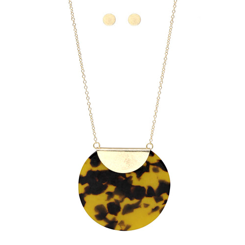 Acetate Disc Pendant Long Necklace