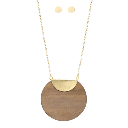Wood Disc Pendant Long Necklace