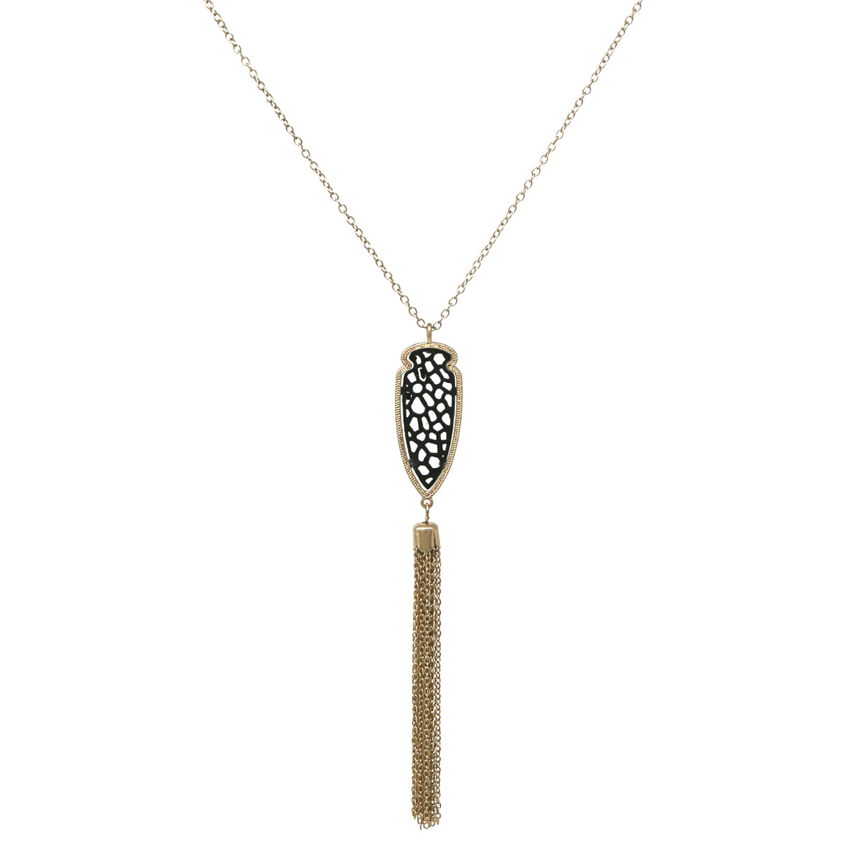 Filigree Laser Cut Faux Leather Bullet Head Shape Pendant with Tassel Long Necklace