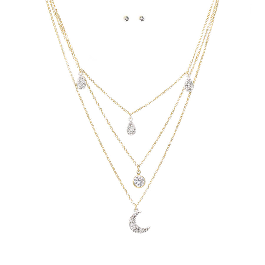 Pave Glass Stone Moon With Teardrop Dangle Triple Layered Necklace