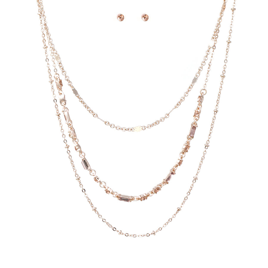 Ball Chain With Rhinestone Chain Layered Short Necklace