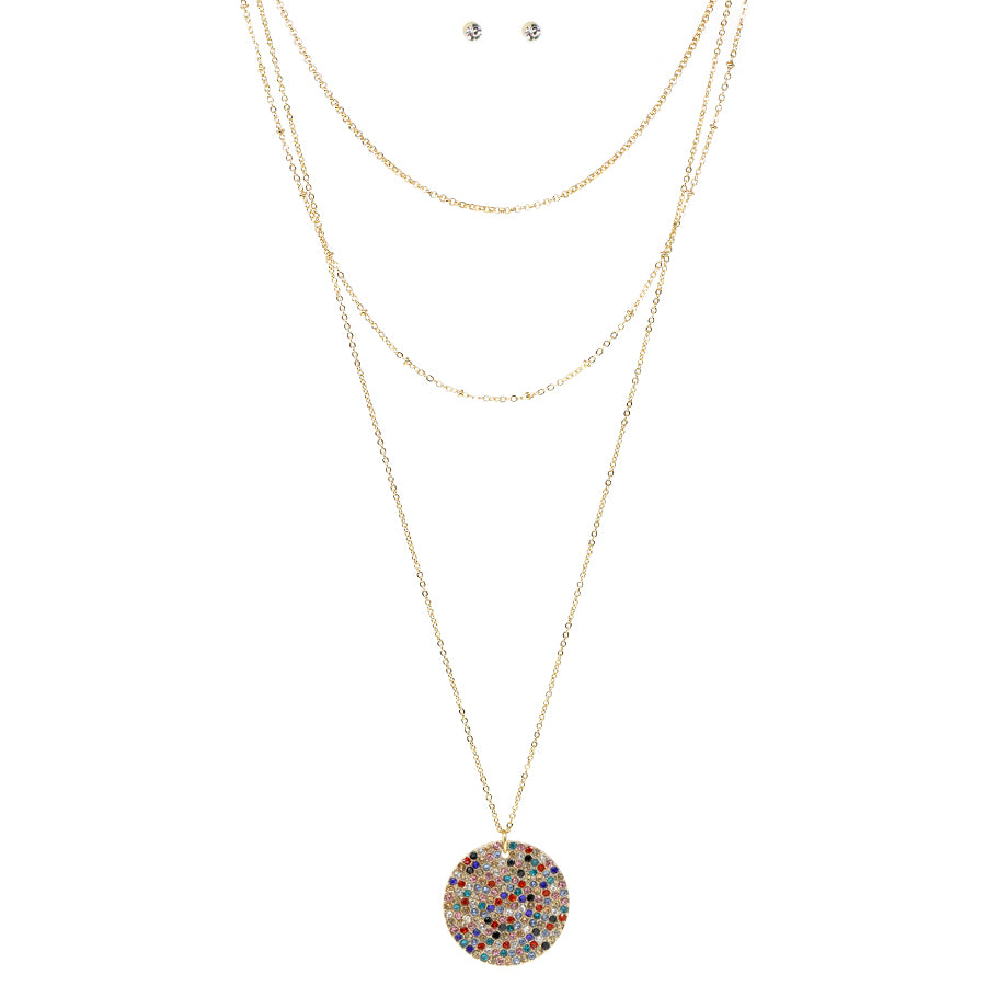 Pave Stone Disc Pendant With Multi Chain Layered Necklace