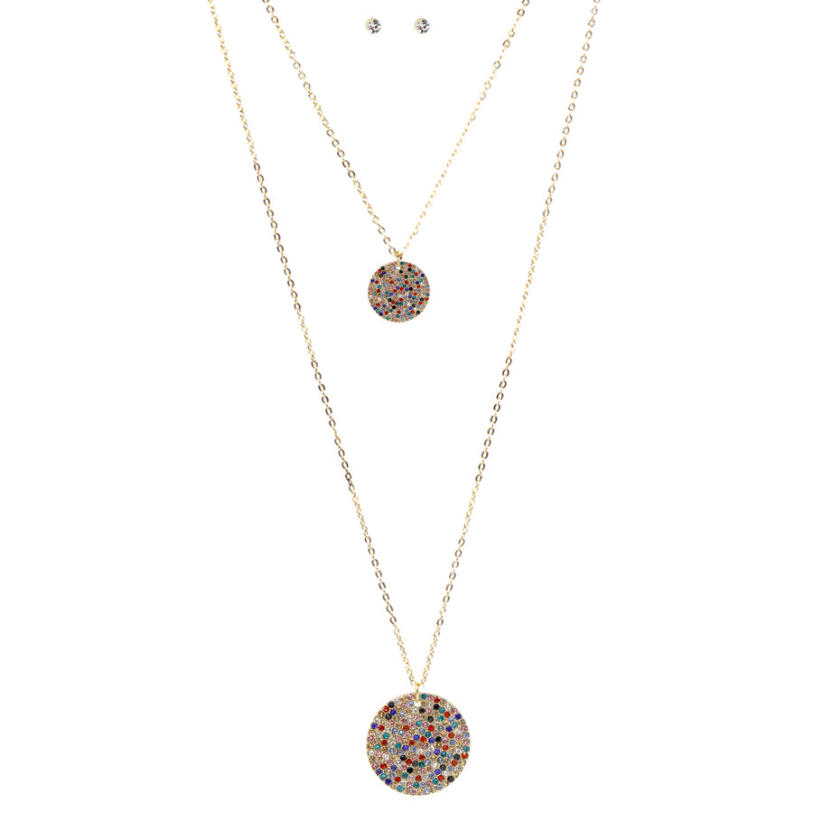 Pave Glass Stone Disc Double Layered Necklace