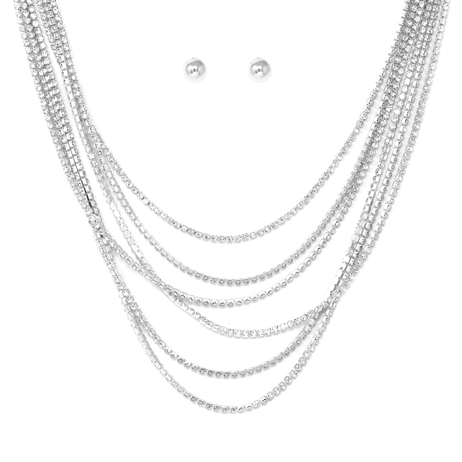 Multi Strands Rhinestone Chain Short Necklace