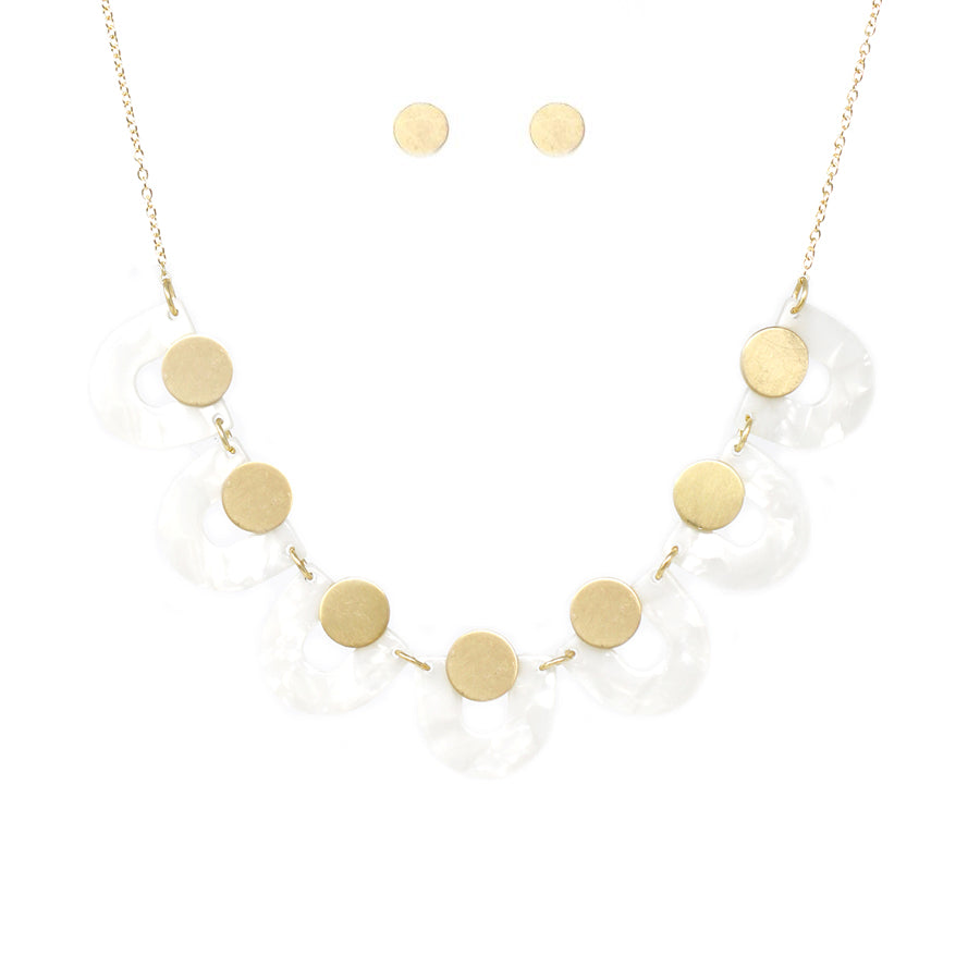 U-Shape Acetate With Mini Disc Short Necklace
