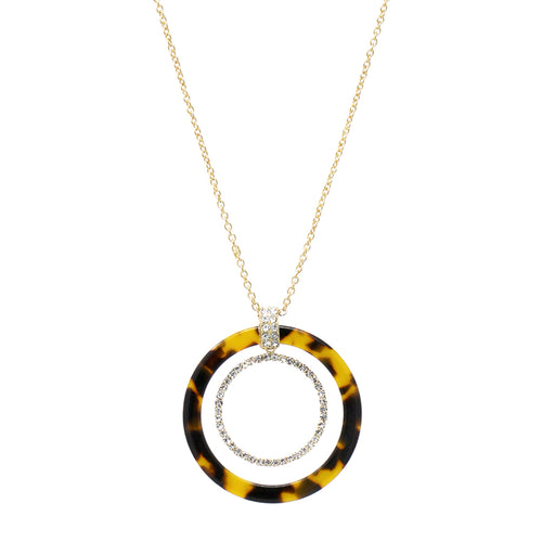 Acetate Hoop With Pave Glass Stone Hoop Layered Long Necklace