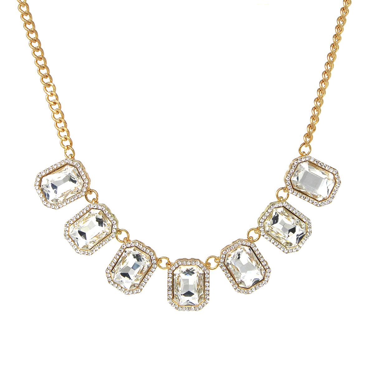 Rhinestone Pave Rectangle Glass Stone Short Collar Necklace
