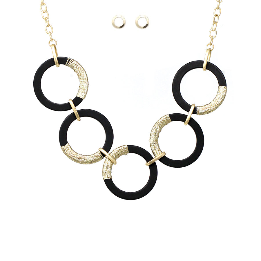 Gold Thread Wrapped Hoop Linked Short Necklace