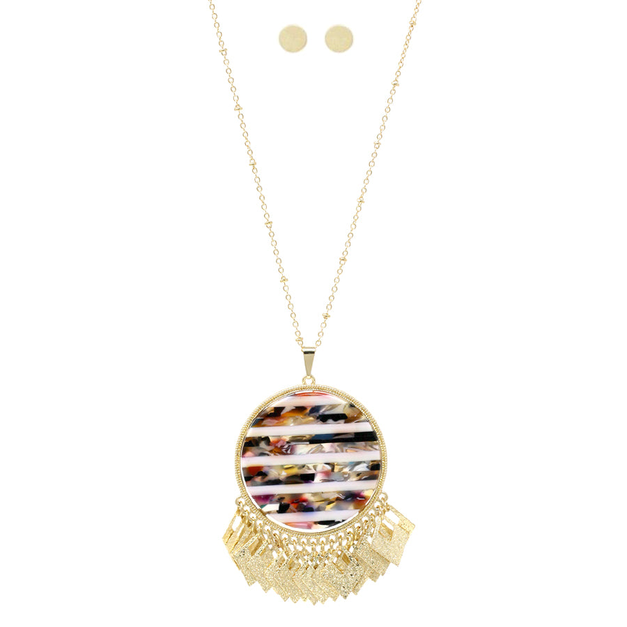 Acetate Disc With Sparkle Finished Metal Fringe Pendant Long Necklace
