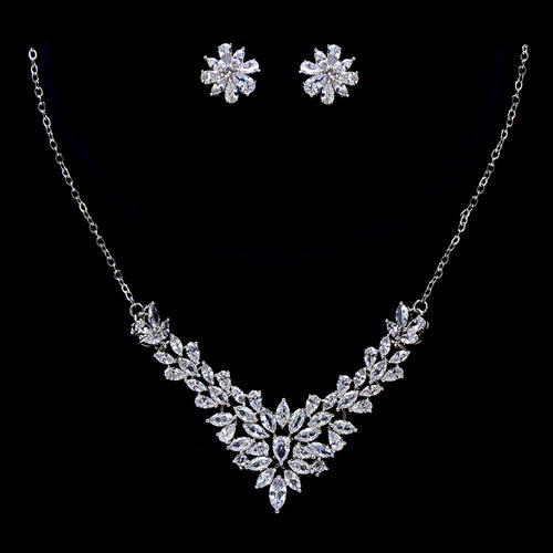 Teardrop With Marquise Cubic Zirconia Cluster V-Shape Necklace Set