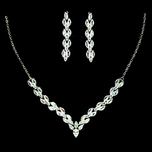 Marquise Cubic Zirconia Paved V- Shape Necklace Set