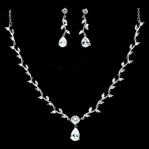 Cubic Zirconia Vine Leaf With Teardrop Necklace Set