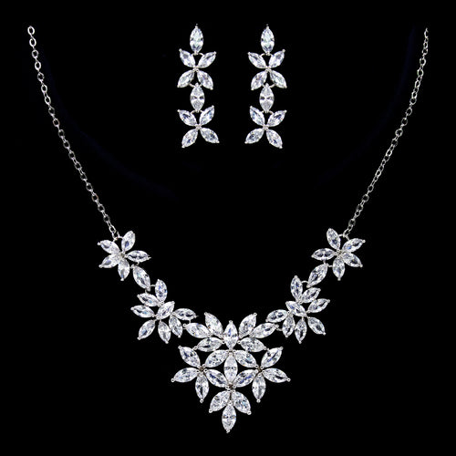 Marquise Cubic Zirconia Paved Flower Cluster Necklace Set
