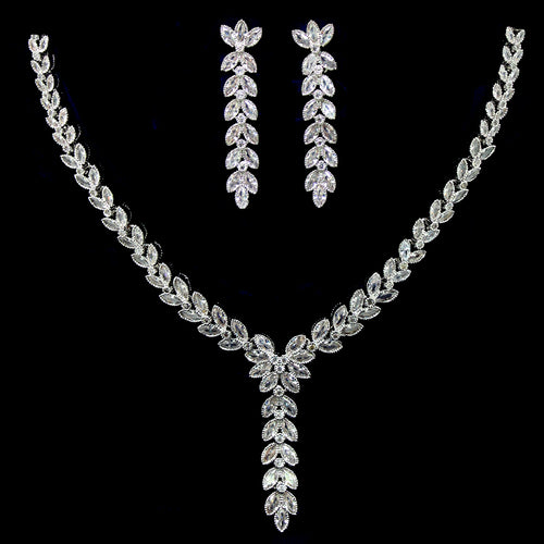 Marquise Cubic Zirconia Paved Y-Shape Necklace Set