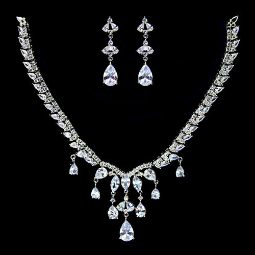 Cubic Zirconia Paved Teardrop Chandelier Shape Necklace Set