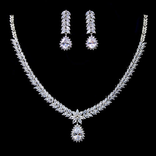 Marquise Cubic Zirconia Paved Vine Leaf With Teardrop Necklace Set