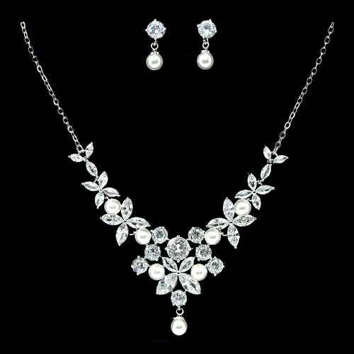 Cubic Zirconia With Pearl Pave Floral Cluster Necklace Set