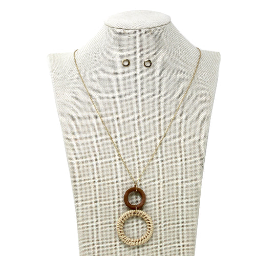 Wood And Rattan Hoop Linked Pendant Long Necklace