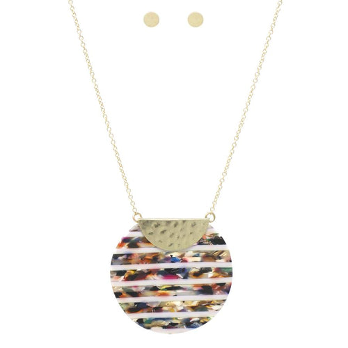 Stripe Acetate Disc Pendant Long Necklace