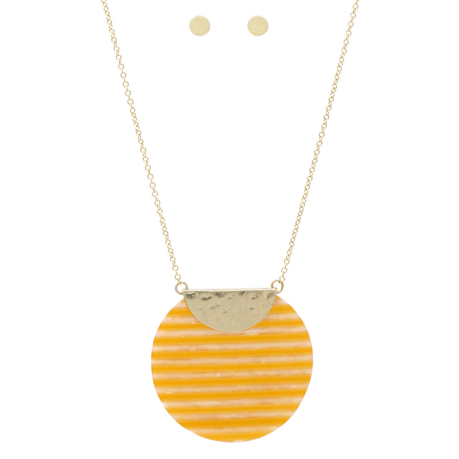 Chunky Stripe Acetate Disc Pendant Long Necklace
