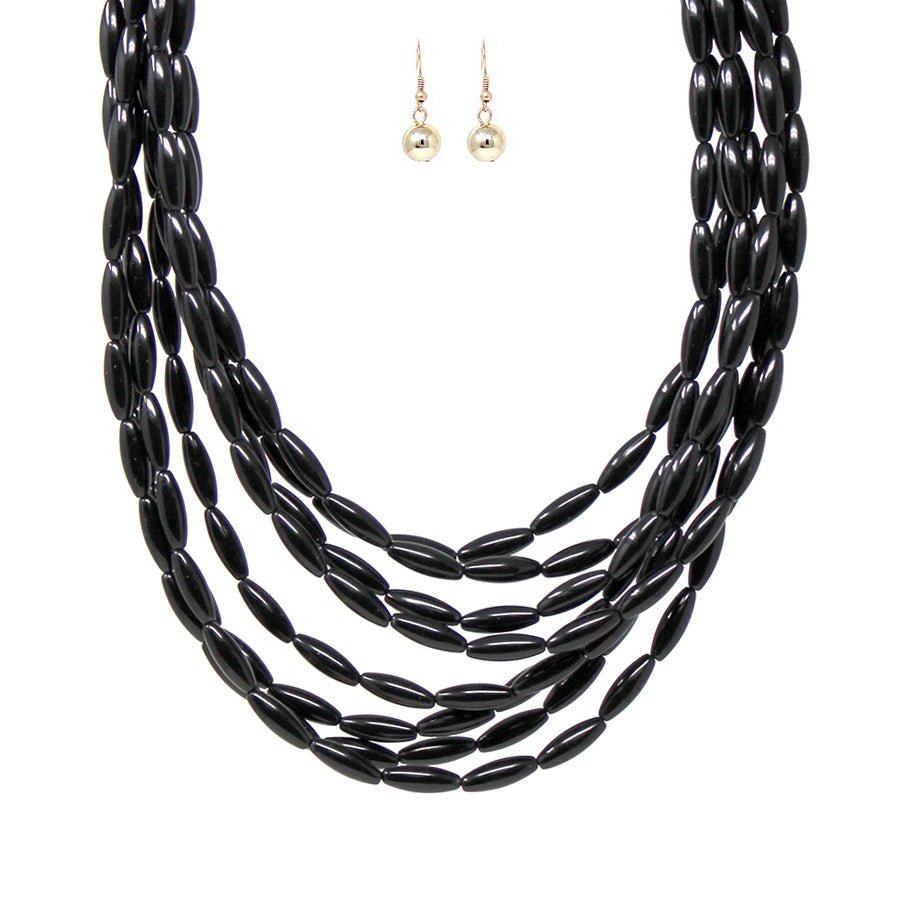 Barrel Rice Tube Bead Multi Strands Short Necklace