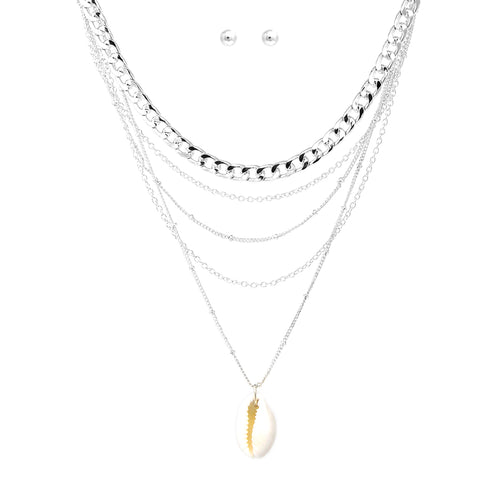Multi Layered Chain With Puka Shell Pendant Short Neckalce