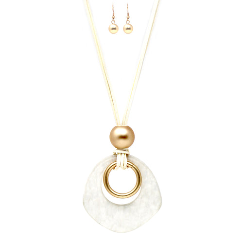 Geometric Shape Acetate With Matte Finished Metal Hoop Pendant Necklace
