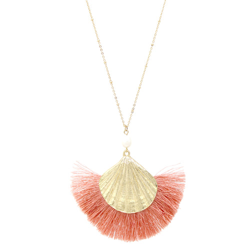 Shell Texture Metal With Freshwater Pearl Tassel Fringe Pendant Long Necklace